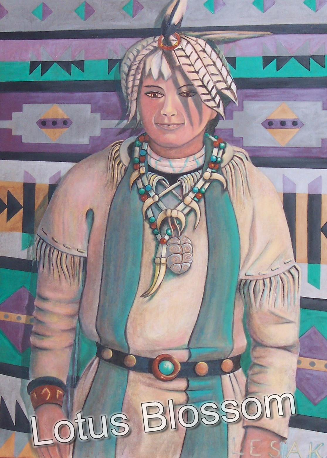 Young man in woodland indian regalia by Lotus