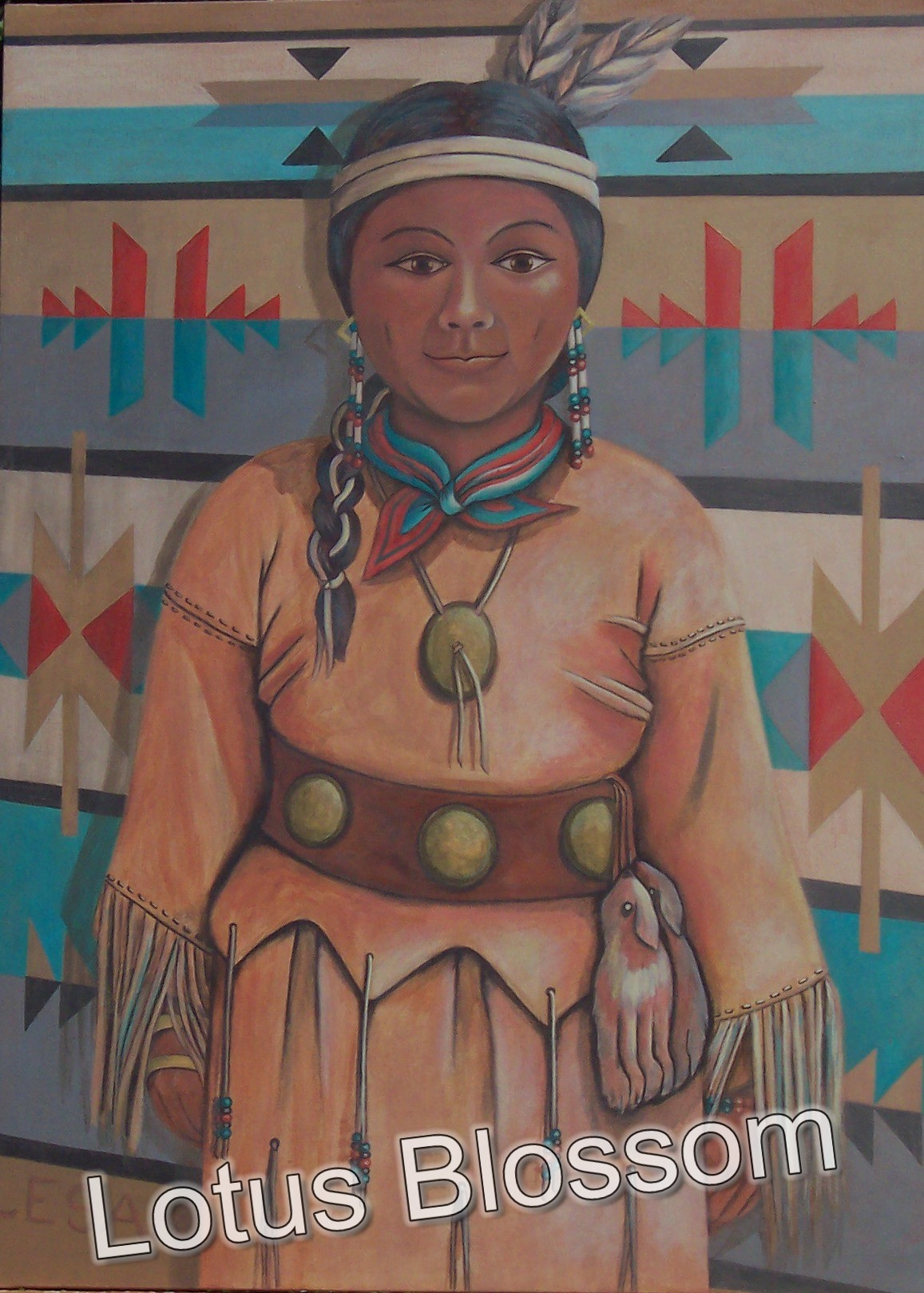 Young girl in buckskins by Lotus