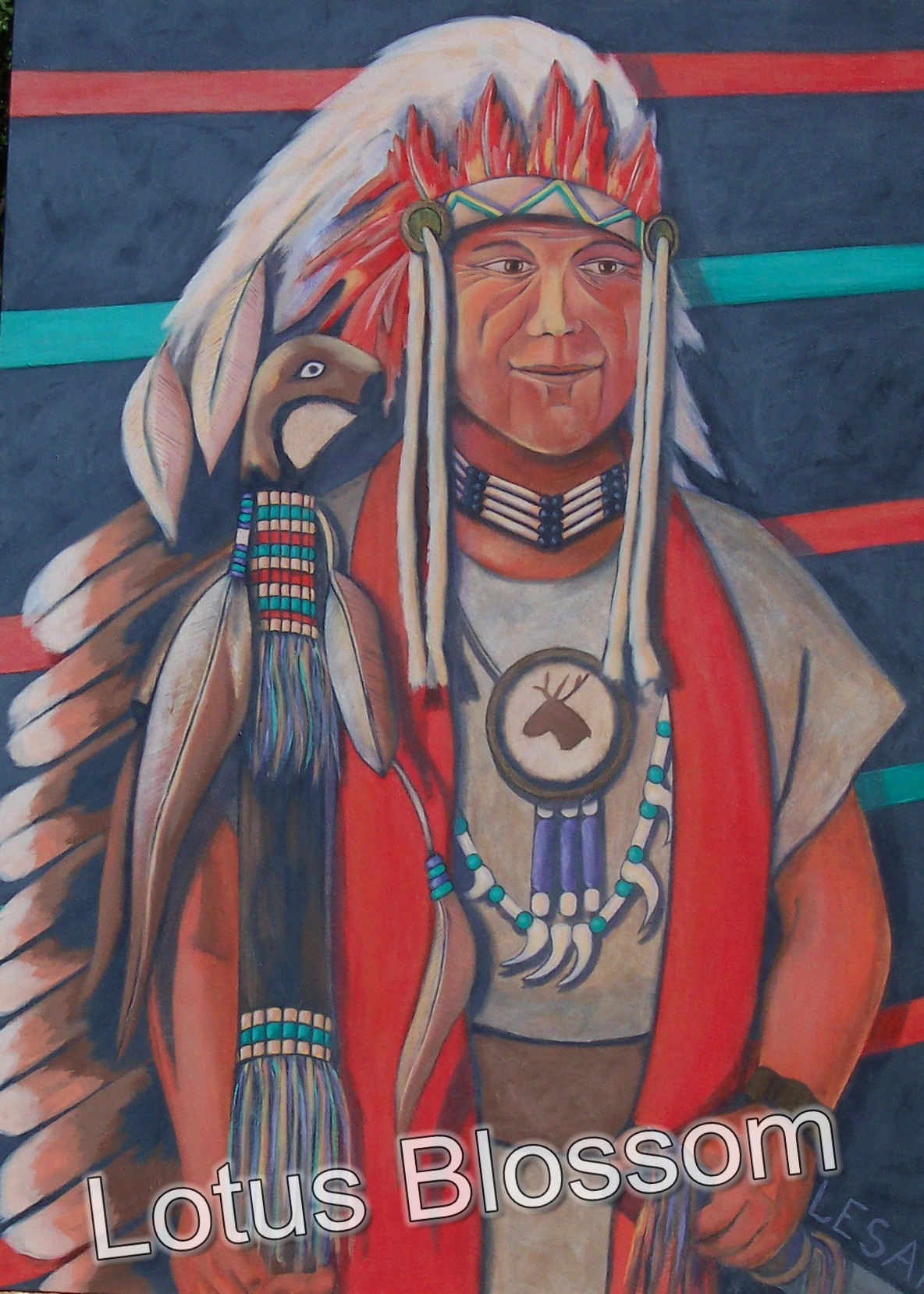 Chief in plains Indian regalia by Lotus