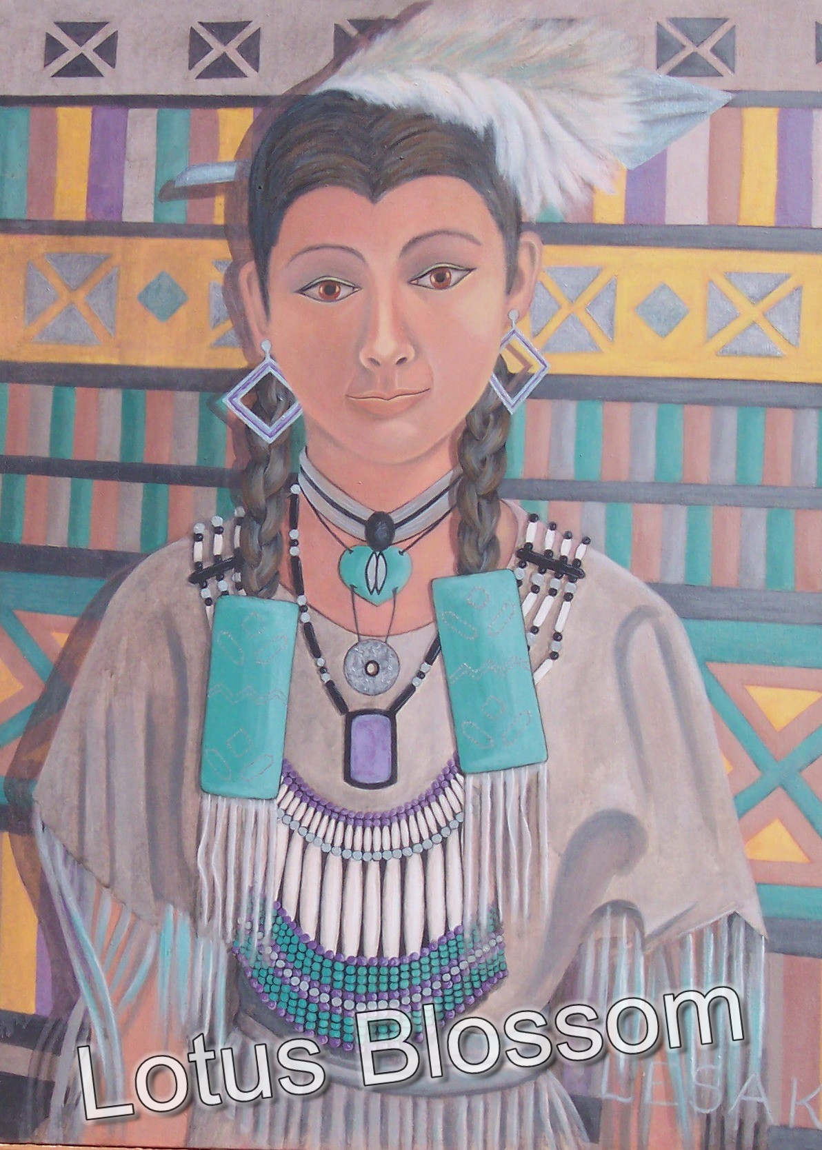 Young woman with turquoise by Lotus