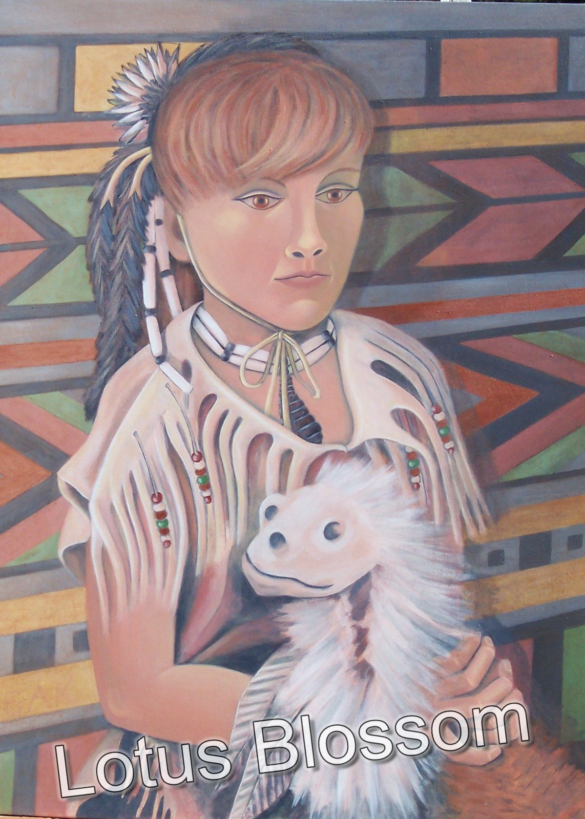 Young girl with animal dance stick by Lotus